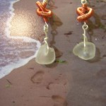 knotted wire seaglass earrings