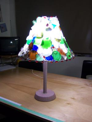 seaglass lamp light at night
