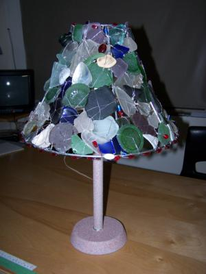 beachglass and seaglass on a lamp shade