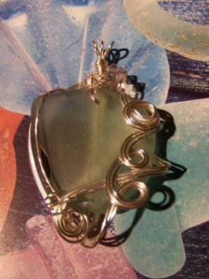 wire wrapped seaglass with beads