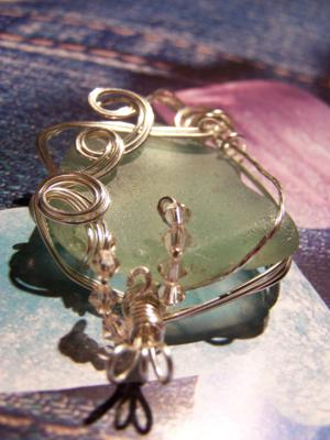 Finished sea glass pendant