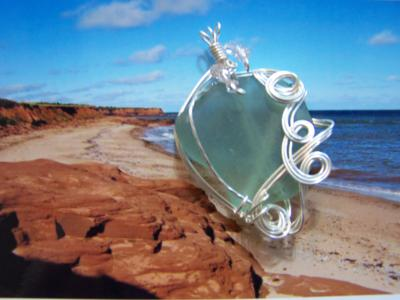green sea glass wire wrapped
