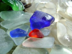 red and blue sea glass