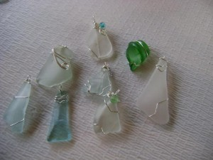 wire wrapped sea glass from Hurricane Sandy