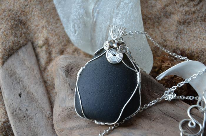 Black wire wrapped sea glass necklace