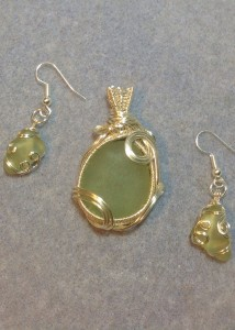 Seafoam Seaglass Pendant & Earrings