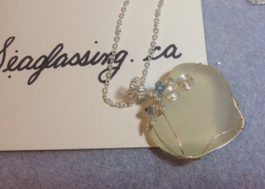 white seaglass necklace with blue crystals