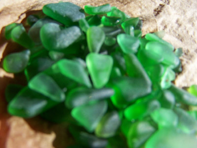 PEI green beachglass