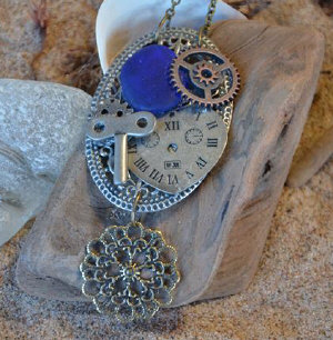steampunk blue seaglass