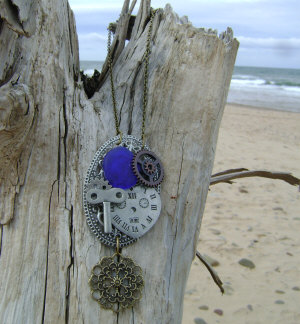 steampunk cobalt blue necklace