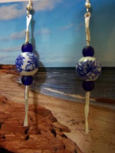 hammered wire beaded earrings