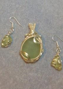 Seafoam Seaglass Pendant & Earrings